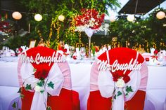 The bride and groom chairs were red covered, with white chiffon and decorated with their names and red and white roses. Destination Wedding, Wedding Planning, Red And White Weddings, Red And White Roses, Event Company, White Chiffon, Wedding Chairs, Beautiful Islands, Unique Weddings