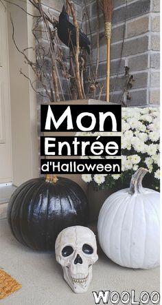 Voici comment faire une entrée d'Halloween chic et super économique! #halloween #décorations #maison #déco Halloween Chic, Halloween Crafts, Halloween Ideas, Decoration, Voici, Craft Projects, Pumpkin, Entrees, Fall