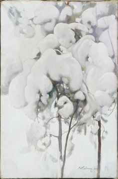 Snow-Covered Pine Seedlings, 1899 by Pekka Halonen (Finnish, Old Paintings, Nature Paintings, Landscape Paintings, Landscapes, A4 Poster, Poster Prints, Winter Trees, Winter Snow, Snowy Day