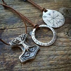 Silver Mjolnir decorated with the World tree  Yggdrasil.  Elder Futhark rune pendant. Vegvisir amulet.
