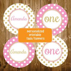 Personalized Gold and Pink Baby Shower Birthday Party Cupcake