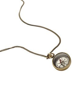 Fossil Necklace, Brass Tone Vintage Compass Pendant - Macy's
