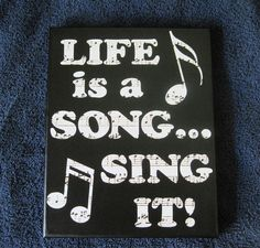 Musical Life is a Song Sing It Wall Quote Art Print Stretched 8 x 10 Canvas Vinyl Lettering (Diy Canvas Signs) Art Prints Quotes, Wall Quotes, Quote Art, Fun Quotes, Music Crafts, Music Decor, Canvas Signs, Canvas Wall Art, Diy Canvas