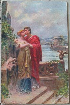 1920 Estasi Charme opera del pittore  D. Mastroianni cromoscultura A. T. Milano. N 01305 Produzione Italia cartolina con francobollo Italia da 10 cent.