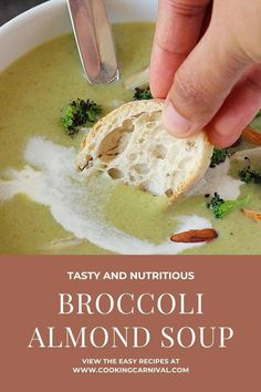 My easy Broccoli Almond Soup is a simple vegetarian soup that's thick, creamy, and made in Instant Pot! Essentially just throw everything in a pot, and you're just 15 minutes away from a creamy, luscious bowl of comfort under 225 calories. And yes, don't forget warm crusty bread for dunking and a nice salad for perfect lunch or weeknight dinner! #broccolisoup #creamy #almond #instantpot #vegetarian #broccoli