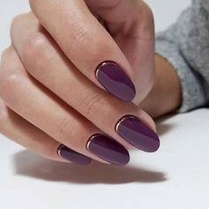 25 Stunning Minimalist Nail Art Designs - purple nails - Best Nail World Acrylic Nails Natural, Natural Nails, Plain Nails, Oval Nails, Matte Nails, Gradient Nails, Holographic Nails, Glitter Nails, Gold Glitter