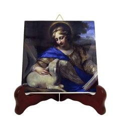 Saints Art - St Agnes icon on tile - Saint Agnes of Rome - Catholic Saints - Sant'Agnese - christian saints - Lamb of God Catholic Gifts, Catholic Prayers, Catholic Art, St Agnes, Tile Murals, Tile Coasters, Religious Icons, South America, Jesus Christ