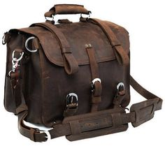 Solid Selvaggio American Crazy Horse Handmade Leather Briefcase with Metal Buckles