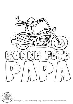 Coloriage moto fête des pères