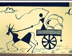 Warli Art- Is the Adivasi Art of my state. Adivasi tribe paint their house walls with such drawing which represents their daily routine work. Worli Painting, Art Painting Gallery, Madhubani Art, Madhubani Painting, Indian Art Paintings, Abstract Paintings, Pottery Painting Designs, Mini Canvas Art, Indian Folk Art
