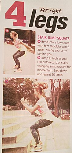 Seventeen Magazine June/July 2014 playground workout.  For tight legs. Stair-Jump Squats
