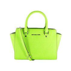 MICHAEL Michael Kors Selma Medium Top Zip Satchel ($230) ❤ liked on Polyvore featuring bags, handbags, pear, michael kors purses, green handbags, saffiano leather handbag, handbag satchel and zip top handbags