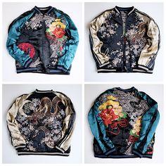SATORI Japanese Souvenir Dragon Ryu Pheonix Sakura Cherry Blossoms Sukajan Jacket - Japan Lover Me Store