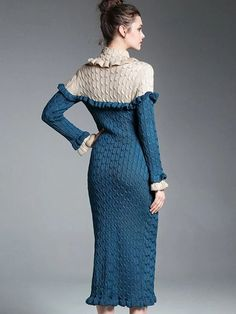 Hit Color High Collar Long Sleeve Sweater Dress