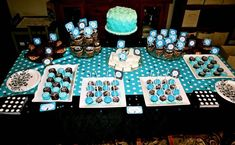 "surprise birthday party in black, white and aqua. Party theme was ""don't let the cat out of the bag!"" Lots of photos! 60th Birthday Party, Man Birthday, Surprise Birthday, Birthday Ideas, Tiffany, Dinner Themes, Cat Party, Deco Table, Shower Party"