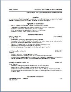 Chemist Resume Fascinating 7 Best Resumes Images On Pinterest  Resume Templates Sample Resume .