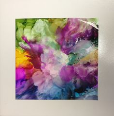 """8x8"""" alcohol ink on Yupo paper mounted on 12x12"""" tile. $50"""