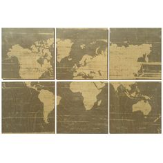 My wife and I have been lucky enough to travel around the world for work experiencing so many cool places and people. She wanted something in our home that reminds her of the world weve visited. So I made her a wooden map! I thought it was cool enough to share :)  The distressed style large world map wall art is perfect to hang in your little ones nursery while chic enough to display in any room in the house. The set of 3 is hand cut and finished on six 12x 12 wood signs. Each sign is made…