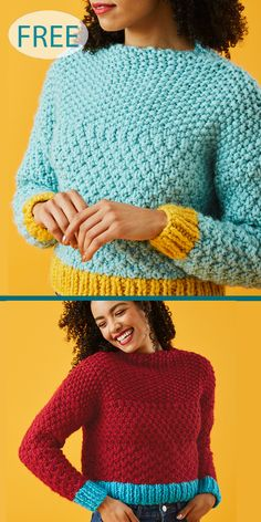 Knitting Patterns for cropped pullover sweater tops with short lengths. Knitting Ideas, Knitting Patterns Free, Knit Patterns, Free Knitting, Knitting Projects, Moss Stitch, Seed Stitch, Crop Top Pattern, Crop Top Sweater