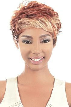 Motown Tress Delite Synthetic Wig, 613 Dark Brown 4 base tipped with Platinum Blonde 613 Short Cut Wigs, Short Pixie, Short Hair Lengths, Long Braids, Pixie Hairstyles, Short Haircuts, Platinum Blonde, Synthetic Wigs, Textured Hair