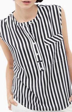 striped button-front cotton tu