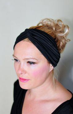Black Turban Headwrap Stretch Twisted Workout by lucymir, $18.99