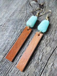 Boucles d'oreilles   earrings   cuir   leather   boho chic   bijoux bohème   gypsy   hippie   amazonite beads   fait au qc   nana boho