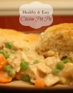 This is in my oven right now - I did a taste test before layering on the biscuits.....YUMMY Healthy & Easy Chicken Pot Pie Recipe - Motherhood on the Rocks