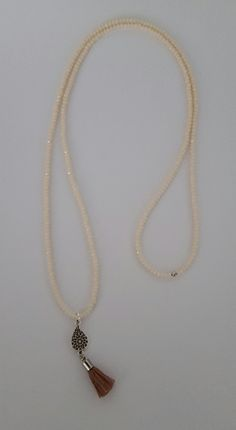 Champagne white facet necklace