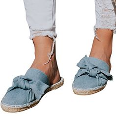 1a40a2e613dc5 $18.88 - Syktkmx Womens Flat Espadrille Mules Closed Toe Bow Tie Slip on Backless  Slide Loafers