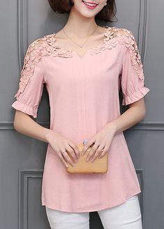 Lace Panel Half Sleeve Pink Blouse on sale only US$29.69 now, buy cheap Lace Panel Half Sleeve Pink Blouse at liligal.com