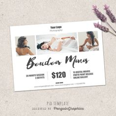 Boudoir marketing board mini session template. Marketing & advertising photography template. Fully editable Photoshop psd file. by PenguinGraphics on Etsy