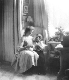 Grand Duchess Olga Nikolaevna with brother Tsarevich Alexei Nikolaevich at Mauve Room.