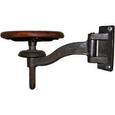 Vintage Cast Iron and Wood Machinist Swing Arm Stool thumbnail 1