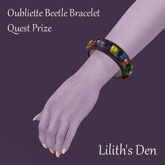 Merchant: Lilith's Den Prize Name: Oubliette Beetle Bracelet Prize Type: Accessory Beetle, Den, Dandelion, Type, Bracelets, Accessories, June Bug, Beetles, Dandelions