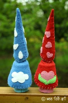 Large Gnomes for Little Hands | Wee Folk Art--cute peg gnomes with a variety of embroidery ideas.