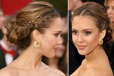 Jessica Alba's bohemian braided updo looks romantic and relaxed on the red carpet