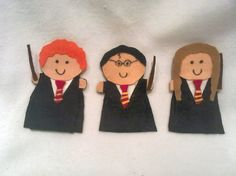 Harry Potter Set of 3 Felt Finger Puppets by AliBush on Etsy, $13.50