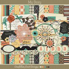 My Story Digital Scrapbook Full Kit By Dandelion Dust Designs #DandelionDustDesigns #DigitalScrapbooking #MyStory #GingerScraps