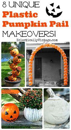 8 Unique Plastic Pumpkin Decorations - turn those pumpkin pails into fun fall and Halloween decorations! kellyelko.com