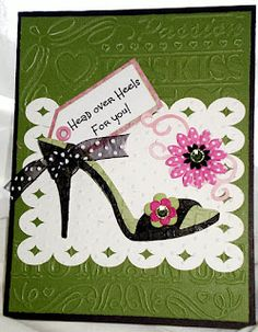 64 best shoe handbag cards images on pinterest card ideas gorgeous green heeled shoe card head over heels for you cricut birthday cards m4hsunfo