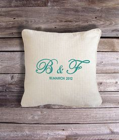 Wedding or Valentines gift with personal touch.   Price INCLUDES cushion & embroidered cushion cover. * * * * * * * * * * * * Please choose your cushion colour from the drop down menu and tell us your embroidery specification (Initials, Date and Colour of Embroidery) in the notes to seller at the checkout :)  If you do not let us know a thread colour choice, we will use our discretion and choose a thread colour which matches your choice of cushion colour.  * * * * * * * * * * * *  All the…