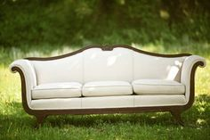 Ashlyn Sofa: 1930's era Antique Duncan Phyfe, Off white/white tone on tone.  Reserve this piece early!