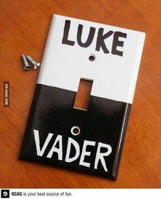 Star Wars Art, Darth Vader and Luke Skywalker light switch plate.