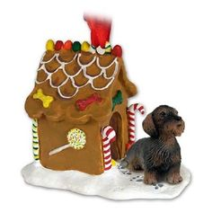 Wire Haired Dachshund Red Gingerbread Ornament