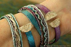 boho GYPSY bangle stack .... smashed knitting needle BRACELETS and vintage bangles in MEDIUM Size in Dark Aqua and Magenta Metal Bracelets, Bangle Bracelets, Bangles, Gypsy Style, Boho Gypsy, Bracelet Making, Jewelry Making, Magenta, Aqua