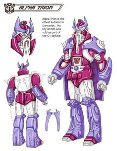 Alpha Trion : Considered only a myth by many, Alpha Trion is believed to be one of the first Transformers. His ancient optic sensors have watched Cybertron change from nightmare to paradise and back again over the course of milennia. Although he never pledged allegiance to any faction in modern times, the Autobots still venerate Alpha Trion for his legendary wisdom and compassion. This photo was uploaded by TransformersArkColor