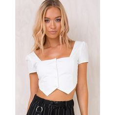 I.AM.GIA Ankaa Top White (€60) ❤ liked on Polyvore featuring tops, white bustier top, white bustier, crop tops, bustier crop tops and white crop bustier