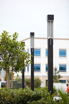 Knight Pedestrian Lighting shown with Black Texture powdercoat at Spectrum Medical Plaza, Irvine, California