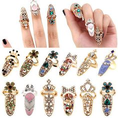 Women-Fashion-Bowknot-Nail-Ring-Charm-Crown-Flower-Crystal-Finger-Nail-Rings-FM
